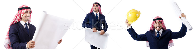The arab engineer with drawings on white Stock photo © Elnur