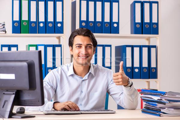 Giovani bello imprenditore lavoro ufficio computer Foto d'archivio © Elnur