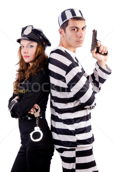 Police and prison inmate on white Stock photo © Elnur