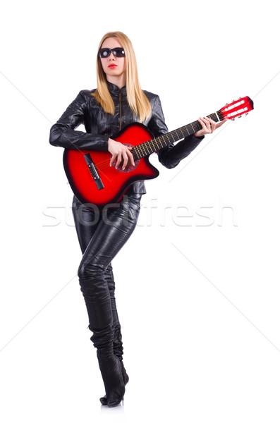 Nő gitáros bőr jelmez zene buli Stock fotó © Elnur