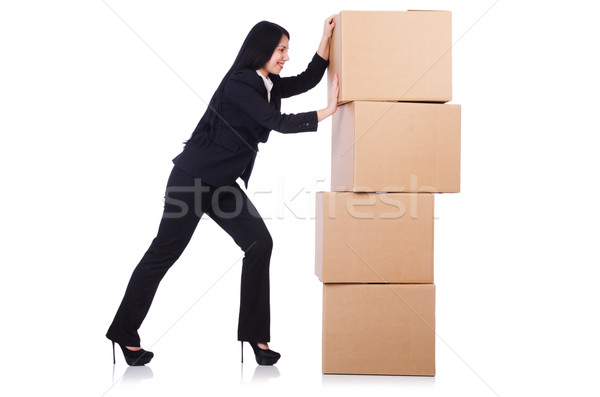 Woman with lots of boxes on white Stock photo © Elnur