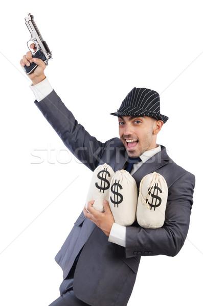 Férfi fegyver pénz szexi modell háttér Stock fotó © Elnur