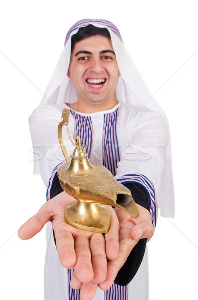 Arab férfi lámpa izolált fehér üzlet Stock fotó © Elnur