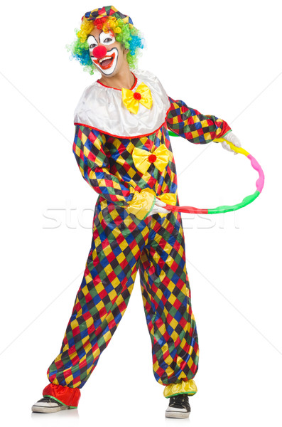 Clown with hula hoop isolated on white Stock photo © Elnur