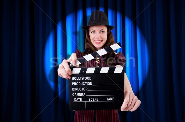 Kadın gangster film film arka plan güvenlik Stok fotoğraf © Elnur