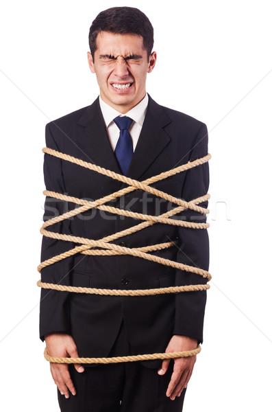 ビジネスマン アップ ロープ 白 ビジネス コンピュータ ストックフォト © Elnur