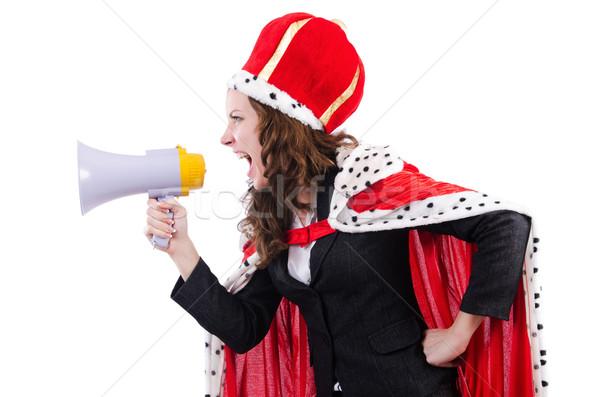 Foto stock: Mulher · rainha · engraçado · trabalhar · empresário · alto-falante
