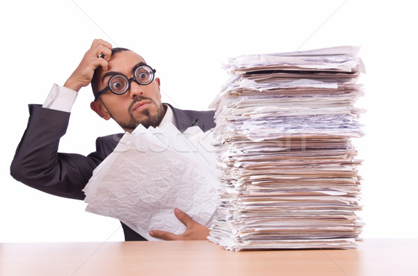Busy businessman with lots of papers Stock photo © Elnur