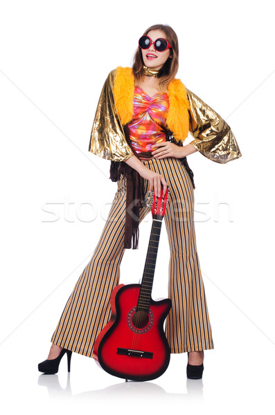 Alto guitarrista isolado branco música festa Foto stock © Elnur