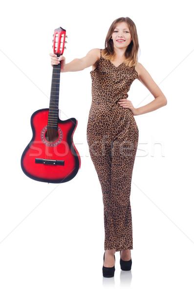 Nő leopárd ruházat fehér gitár zene Stock fotó © Elnur