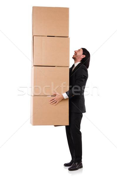 Komik adam kutuları beyaz çalışmak kutu Stok fotoğraf © Elnur