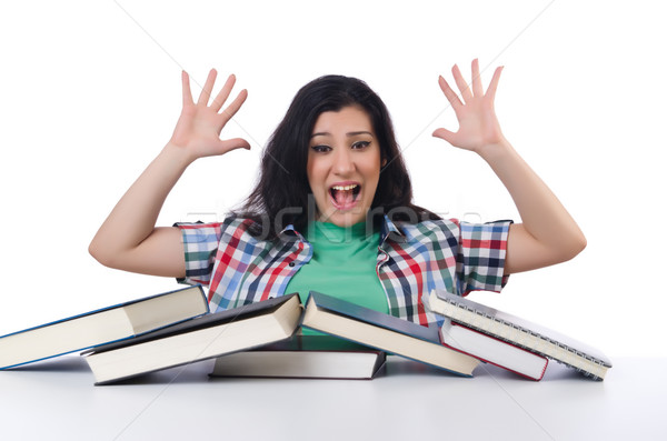 Stock fotó: Fáradt · diák · tankönyvek · fehér · mosoly · könyvek