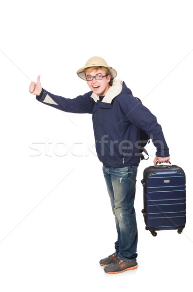 Funny man with luggage wearing safari hat Stock photo © Elnur