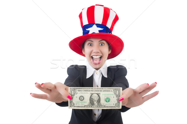 Young woman with dollar and usa hat Stock photo © Elnur