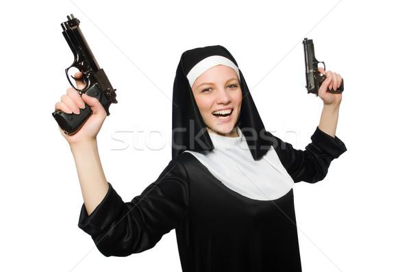 Monja pistola aislado blanco mujer nina Foto stock © Elnur