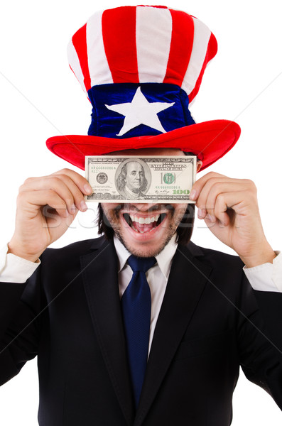 Man with american dollar and hat Stock photo © Elnur