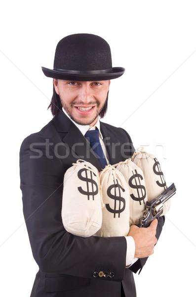 Foto stock: Jóvenes · empresario · aislado · blanco · dinero · mano