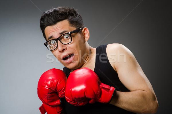 Funny Boxer rot Handschuhe dunkel Hand Stock foto © Elnur