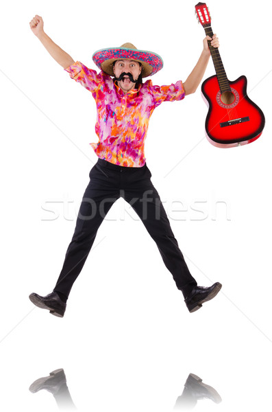 Mexican male brandishing guitar isolated on white Stock photo © Elnur
