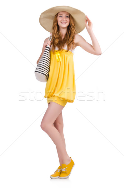 Stock photo: Young woman in yellow summer dress isolated on white