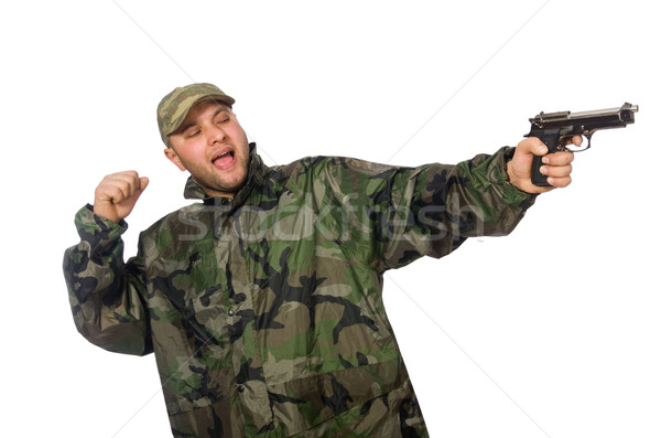 Solider holding gun isolated on white Stock photo © Elnur