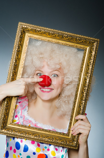 смешные клоуна фоторамка улыбка лице кадр Сток-фото © Elnur