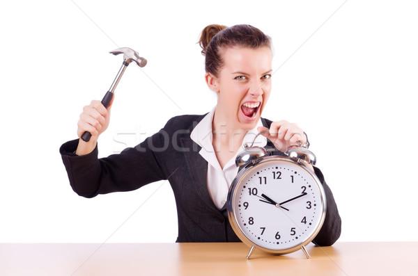 Nő kétségbeesett idő óra kalapács üzlet Stock fotó © Elnur
