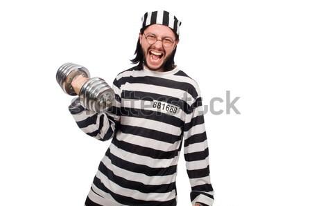 囚人 ナイフ 孤立した 白 顔 警察 ストックフォト © Elnur