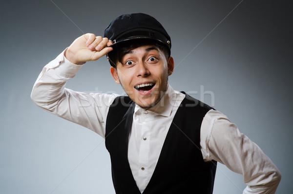 Funny taxi conductor CAP hombre Foto stock © Elnur