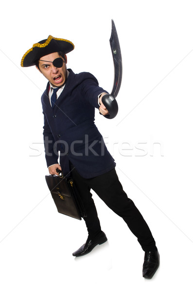 One eyed pirate with briefcase and sword isolated on white Stock photo © Elnur
