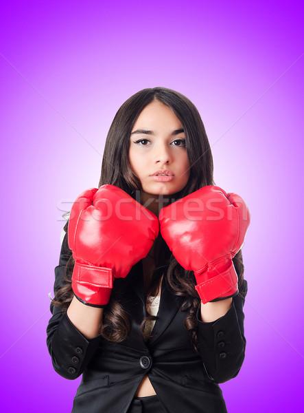 боксерская перчатка бизнеса женщину стороны костюм Сток-фото © Elnur