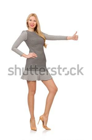 Szőke lány pötty ruha izolált fehér Stock fotó © Elnur