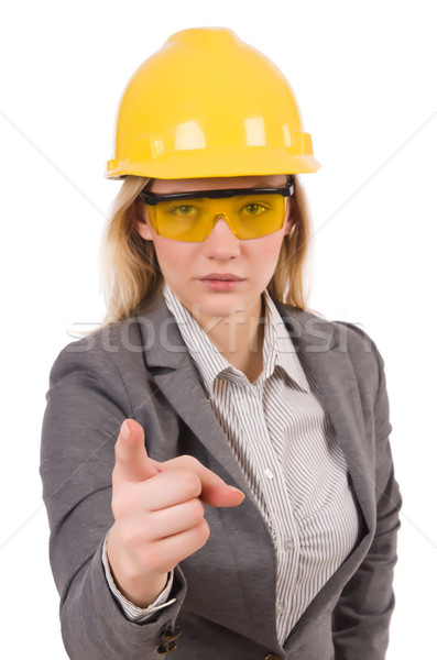 Construction employee wearing protective glasses isolated on whi Stock photo © Elnur