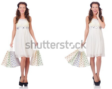 Woman in fashion dress concept on white Stock photo © Elnur