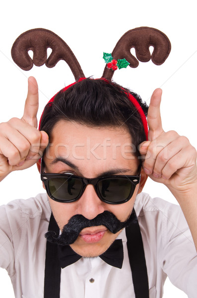 Funny whiskered man with horns isolated on white Stock photo © Elnur