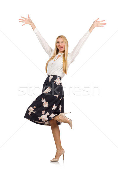 Pretty girl in black skirt with flowers isolated on white Stock photo © Elnur