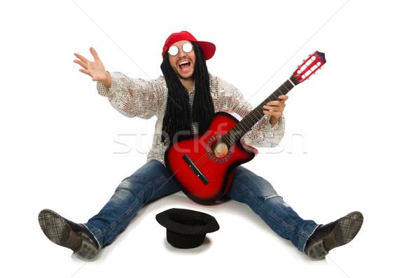 Férfi zenész gitár izolált fehér pénz Stock fotó © Elnur