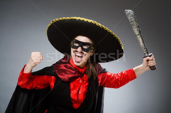Kişi geniş kenarlı şapka şapka komik intihar Stok fotoğraf © Elnur