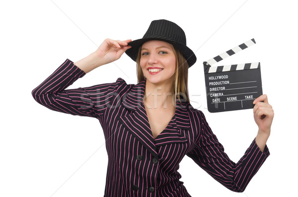 Woman with movie clapboard isolated on white Stock photo © Elnur