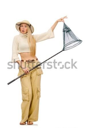 Nő visel szafari kalap fehér jókedv Stock fotó © Elnur