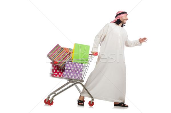 Stock photo: Arab man doing shopping isolated on white