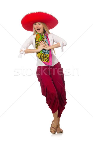 Meksika kız geniş kenarlı şapka dans beyaz kadın Stok fotoğraf © Elnur