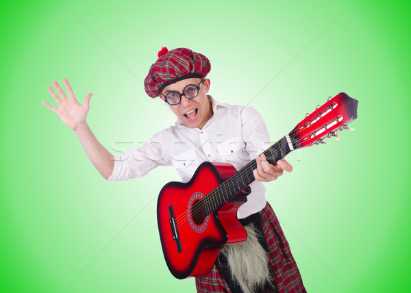 Funny scotsman with guitar on white Stock photo © Elnur