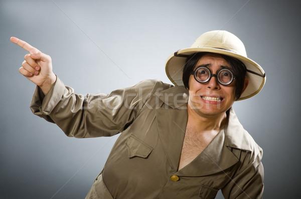 男 着用 サファリ 帽子 面白い 太陽 ストックフォト © Elnur