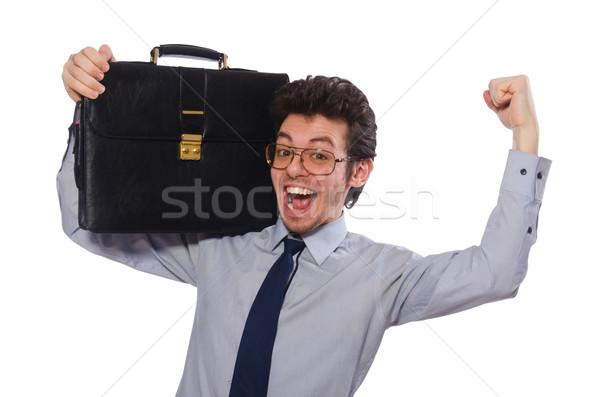 молодые сотрудник портфель изолированный белый студент Сток-фото © Elnur