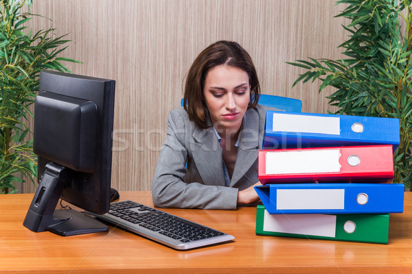 Tired woman stressed with too much work Stock photo © Elnur