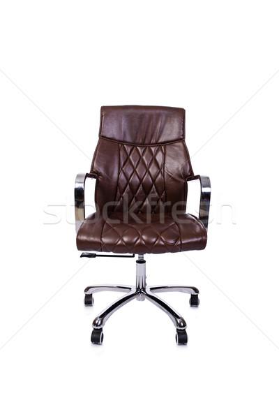ブラウン 革 事務椅子 孤立した 白 オフィス ストックフォト © Elnur