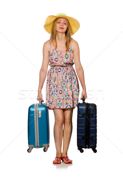 Stock photo: Woman with suitcase isolated on white