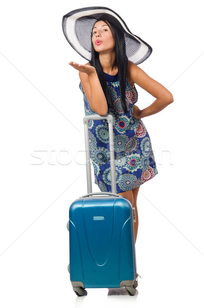 Woman with suitcase isolated on white Stock photo © Elnur