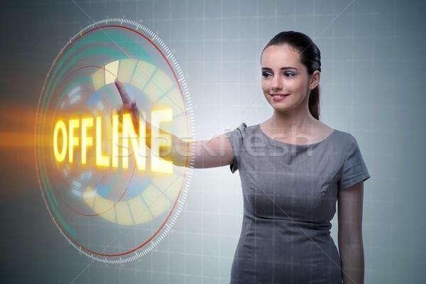 üzletasszony kisajtolás virtuális gomb nő internet Stock fotó © Elnur